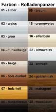 ALU Rolladen Vorbauelement eckig mit ALU-Minipanzer Standardfarben